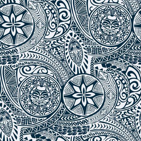Polynesischer hawaiianischer Stil Tribal Tattoo Stoff Vektor nahtlose Muster