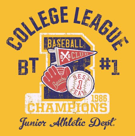 Baseball kids college league champ vector artwork for children wear grunge effect in separate layer