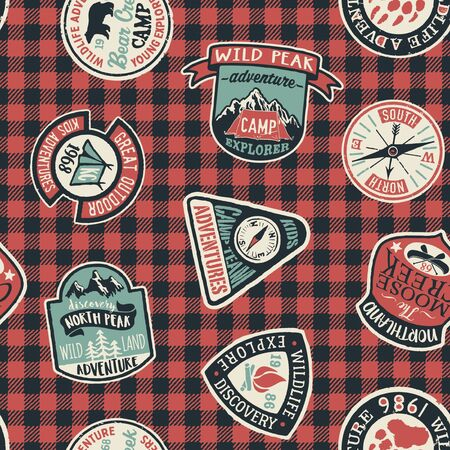 Mountain exploring adventure badges vector collection seamless pattern with patches and tartan background for children wear