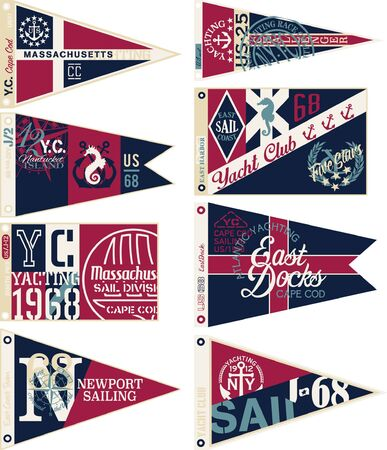 Yachting nautical club pennant flags New England east coast sailing vector collection for t shirt print or embroidery applique