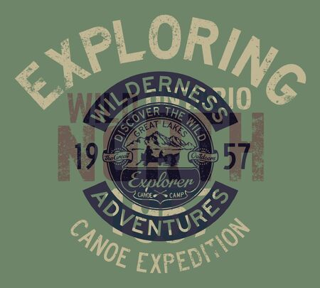 Great lakes canoe trip exploring adventure vintage vector print for boy kid t shirt Çizim