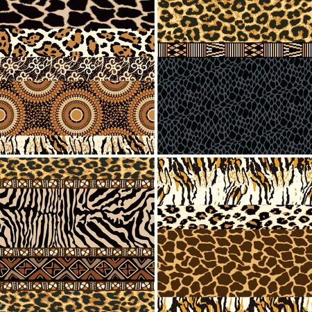 Traditional African fabric and wild animal skin patchwork collection of four abstract vector seamless patterns Ilustrace