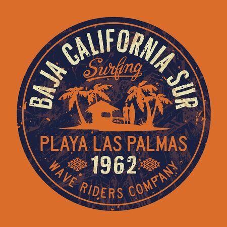 Baja California Sur wave surf company impresión vectorial vintage para camiseta de niño chico y ropa de playa