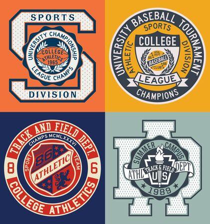 Collection d'insignes et de patchs vectoriels du département d'athlétisme du collège sportif vintage pour les vêtements de sport en t-shirt Vecteurs