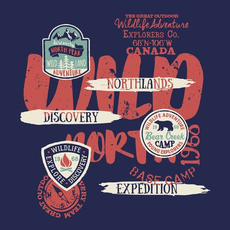Wildlife adventure north land discovery expedition grunge vintage vector print for child boy shirt with applique badges