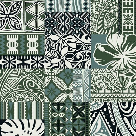 Hawaiian style tapa fabric patchwork tribal vector seamless pattern