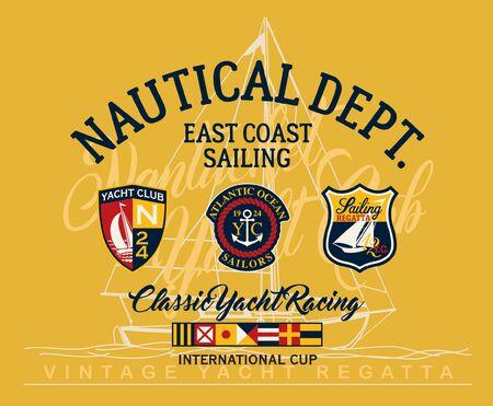 East coast sailing regatta yacht club vector print for children wear with applique yachting badges Zdjęcie Seryjne - 129412937