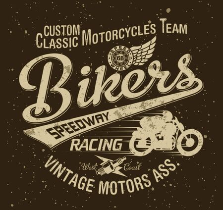 Classic vintage motorcycle racing team vector artwork for t shirt grunge print effect in separate layer Иллюстрация