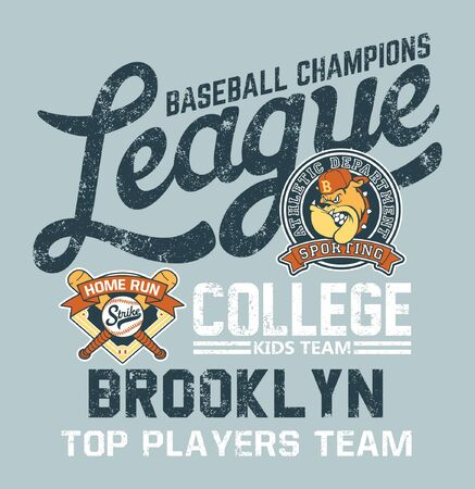 Bulldog baseball college kids league vector print for children wear with applique embroidery patches Illustration
