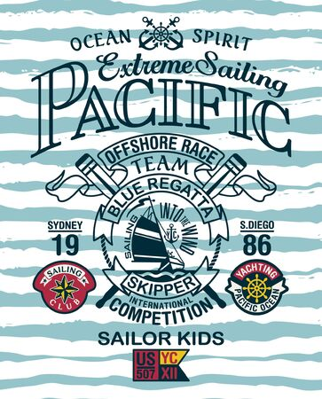 Pacific ocean extreme sailing yacht club vintage vector print for children wear with applique patches
