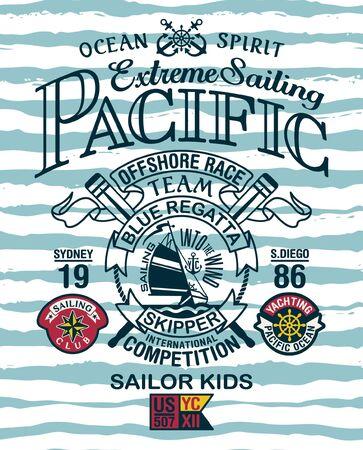 Stampa vettoriale vintage per yacht a vela estremo dell'oceano pacifico per bambini da indossare con toppe applicate