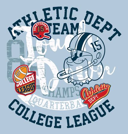 Cute bulldog american football college league grunge vintage vector print for children wear with applique embroidery patches