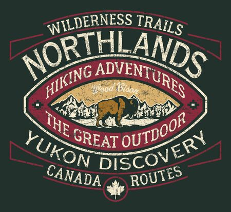 Canada hiking trail wilderness vintage vector print for boy t shirt grunge effect in separate layer
