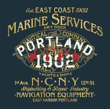 naval shipyard nautical company marine service vintage grunge vector print for boy man t shirt