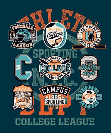College athletic department sporting team badges collection vintage vector print for children wear with applique patches Vektorové ilustrace