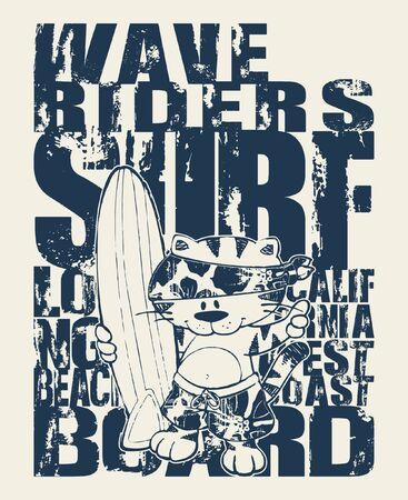 Cute cat California surfing team grunge vector artwork for children wear