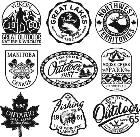 Colección de vectores de pegatinas y parches de aventuras al aire libre de Canadá en blanco y negro para camisa de niño