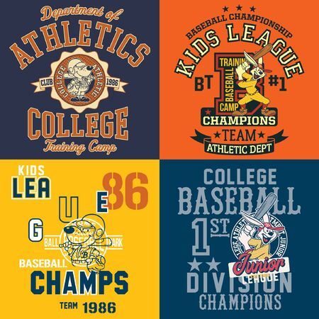 Cute cartoon characters baseball player vector print for children wear sport shirt collection
