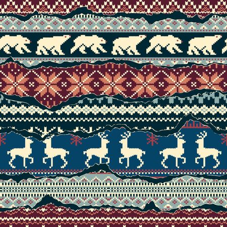 Winter Nordic style knitted jacquard fabric patchwork wallpaper vector abstract seamless pattern Vettoriali