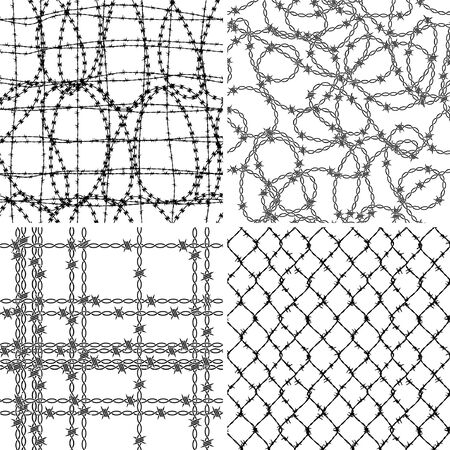 Tangled barbed wire wallpaper collection 4 different abstract fence vector seamless pattern