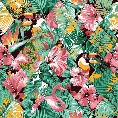 tropical leaves hibiscus and birds patchwork abstract vector seamless pattern Vector Illustratie