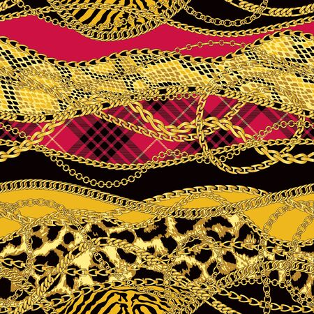 Gold chains with animal fur and scottish tartan abstract vector seamless patchwork pattern