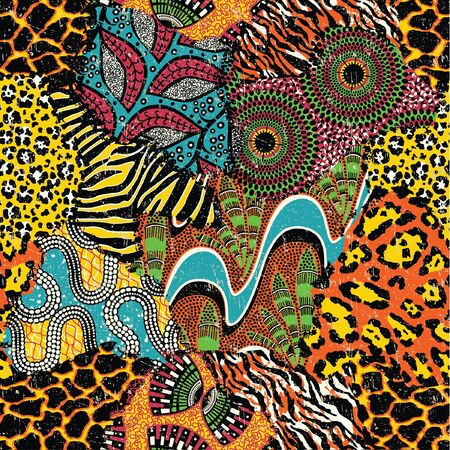 Traditional african fabric and wild animal skins abstract patchwork vector seamless pattern wallpaper Illustration