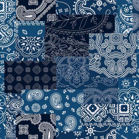 Bandana kerchief fabric patchwork vector seamless pattern wallpaper