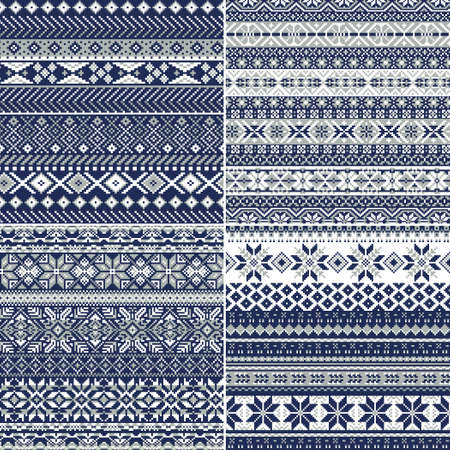 Nordic style Christmas snowflake jacquard collection of four different abstract knitted vector seamless pattern