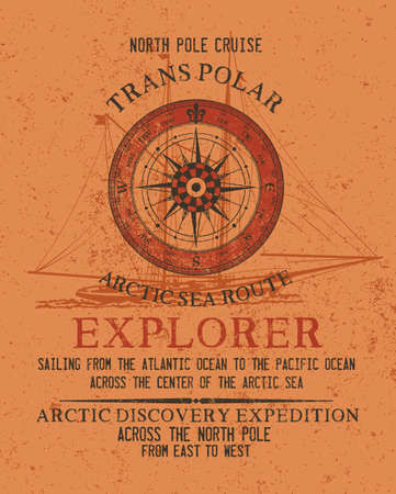 North pole arctic ocean sailing adventure vintage vector print for boy t shirt with grunge texture and sailboat background