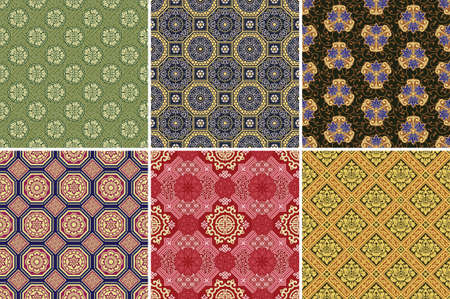 Chinese style floral and geometric traditional fabric wallpaper collection of six different vector seamless pattern
