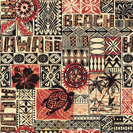 Hawaiian style tribal fabric patchwork abstract vintage vector seamless pattern for shirt card print paper