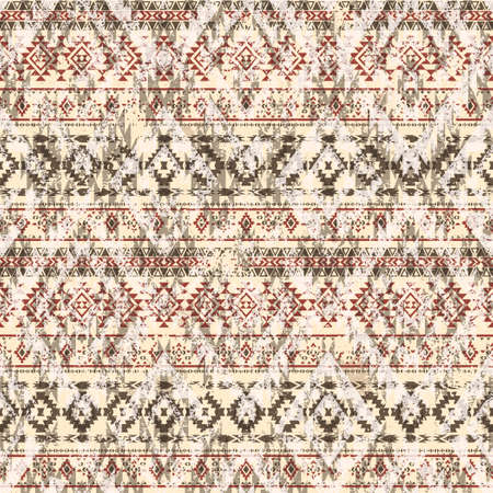 Native American style fabric patchwork grunge wallpaper abstract vector seamless pattern
