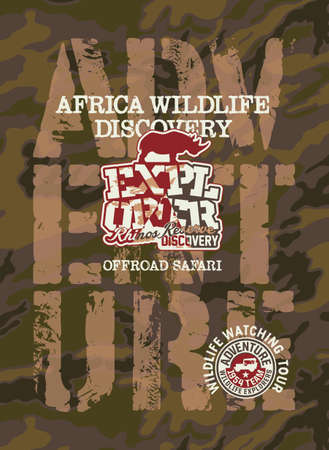 Africa wildlife discovery offload adventure vector prints for boy t-shirt with camouflage background