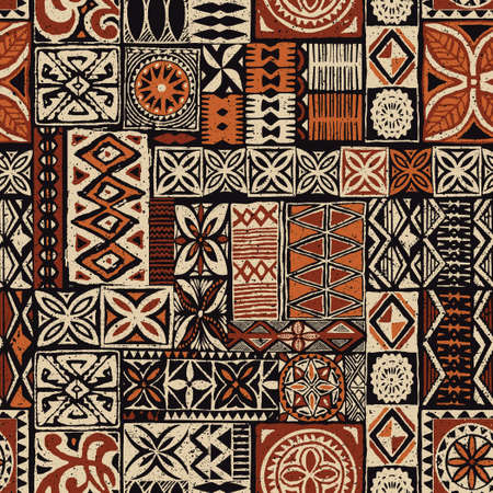 Hawaiian style tapa tribal fabric abstract vintage patchwork vector seamless pattern