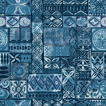 Hawaiian style blue tapa tribal fabric abstract vintage patchwork vector seamless pattern