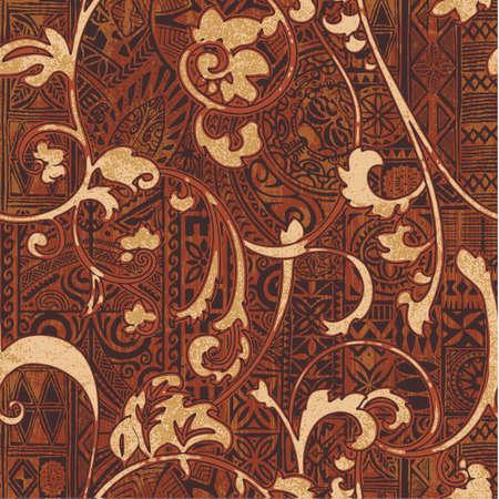 Hawaiian style tribal fabric patchwork vintage vector seamless pattern