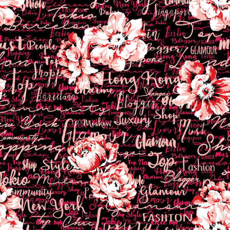 Handwriting script with flowers wallpaper rose and font vector seamless pattern