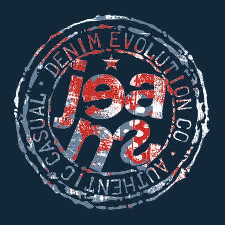 Denim Jeans evolution rubber stamp grunge vector print for boy t shirt