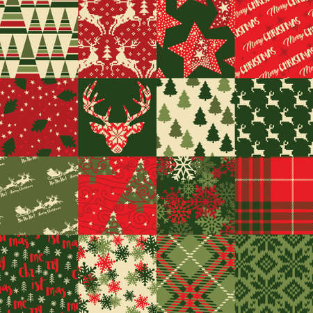 Christmas clip art elements patchwork wallpaper abstract in seamless pattern