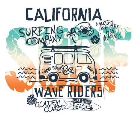 California West Coast surfer van abstract cute artwork for children shirt beach and summer wear Иллюстрация