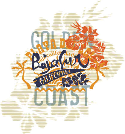 Baja California sur coast summer vintage vector artwork for beach wear and t shirt with hibiscus flowers