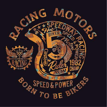 Motorcycle vintage racing team helmet vector print for boy t shirt rust effect in separate layer