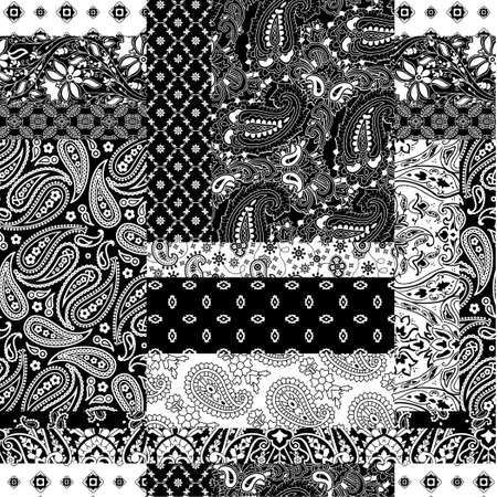 Cashmere paisley bandana fabric patchwork abstract vector seamless pattern wallpaper Vecteurs