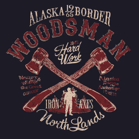 Alaska outdoor woodsman lumberjack axes vector artwork for boy t shirt grunge effect in separate layers