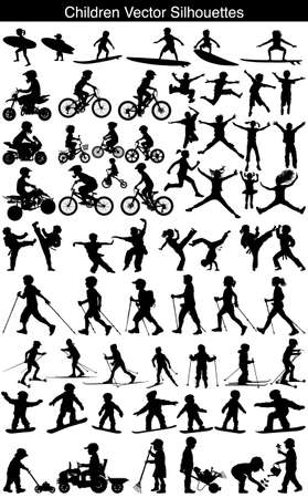 Children girl and boy playing sports vector silhouette collection
