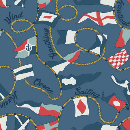 Nautical flags and pennants with ropes vector seamless pattern