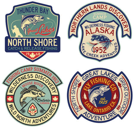 Alaska and Canada fly fishing sport badges vintage vector label collection