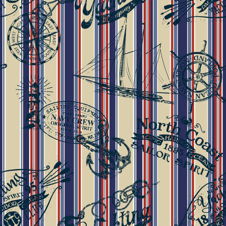 Grunge nautical badges and elements with striped background vintage marine vector seamless pattern Vettoriali