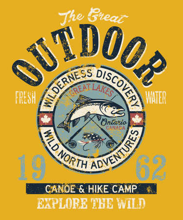 The great Canada outdoor fishing adventure badge vintage vector print for t shirt grunge effect in separate layer
